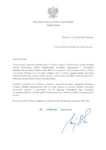 Biblioteka otrzymała podziękowanie od Prezydenta  Rzeczypospolitej Polskiej Andrzeja Dudy