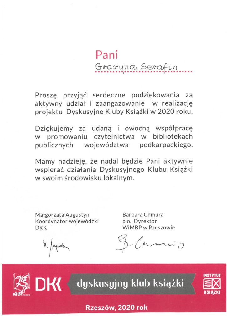 Podziękowanie dla pracowników Gminnej Biblioteki Publicznej w Haczowie.